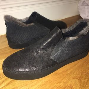 STUART WEITZMAN Black Fur Lined Slip On Shoes